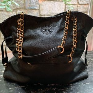 Tory Burch 'Marion' Slouchy Black Leather Tote